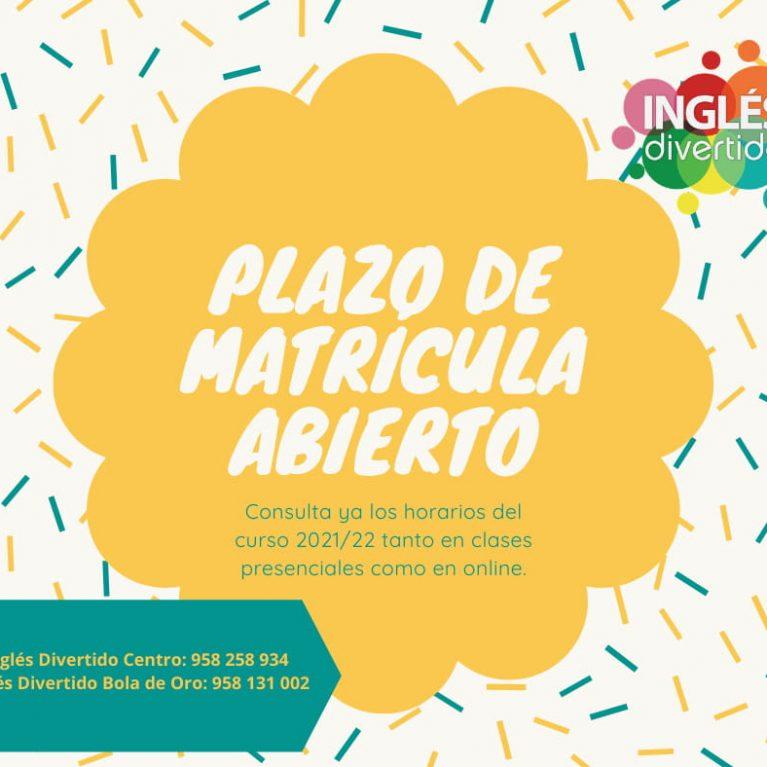 Plazo de matrícula abierto Curso 2021-22 en Inglés Divertido